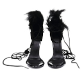 Feather Patchwork Lace-Up Open Toe Women's Sandals