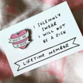 Pink Heart Don't be a Dick. Brooch Cute Pin Accessories