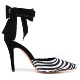 Zebra Pattern Bow Pointed Toe Women's Sandals
