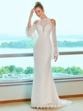 Lace Open Shoulder Wedding Dress with Long Sleeve