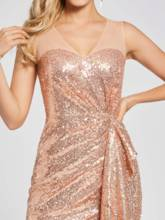 Reflective Dress Scoop Sequins Sheath Evening Dress