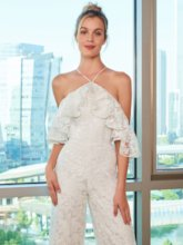 Ruffles Lace Open Shouler Wedding Jumpsuits
