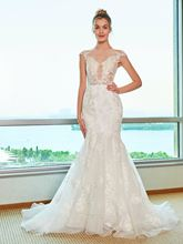 Sheer Neck Lace Appliques Mermaid Wedding Dress