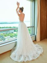 Beaded Halter Backless Lace Wedding Dress