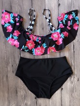 Floral Ruffles High Waist Bikini Bathing Suits