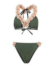 Plain 3D Lace Up 2-Pcs Bikini Bathing Suits
