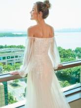 Appliques Beading Wedding Dress with Long Sleeve