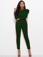 Stripe Ruffle Long Sleeve Skinny Women's Jumpsuit