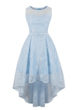 Scoop A Line Lace High Low Homecoming Dress