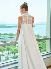 High Neck Lace Asymmetry Beach Wedding Dress