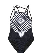 Plus Size Stripe Hollow One Piece Bathing Suits