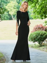 Pearls Sheath Evening Dress with Sleeves