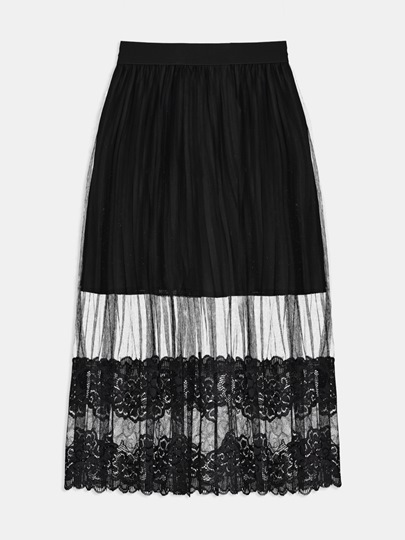 Lace Patchwork Hollow See Through Women's Skirt