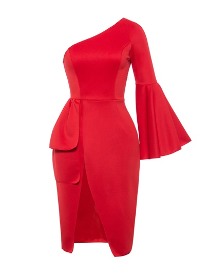 One Shoulder Plain Bodycon Flare Sleeve Dress