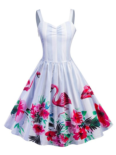 Striped Flamingo Pattern Women's Day Dress