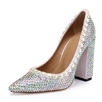 Chunky Heel Pointed Toe Beads Pumps for Women