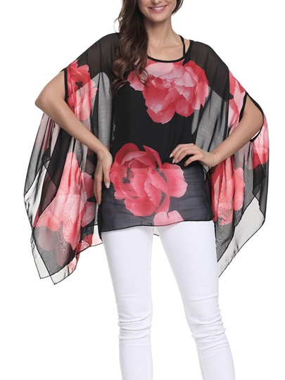 Floral Sheer Batwing Sleeve Blouse Women's Top