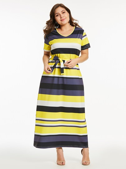 Plus Size Yellow Stripe Tie Waist Maxi Dress