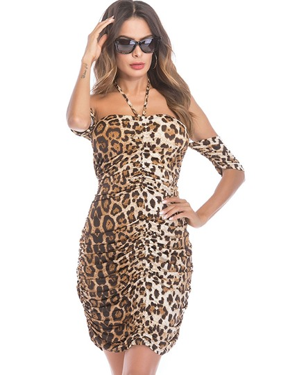 Leopard Halter Women's Party Dress