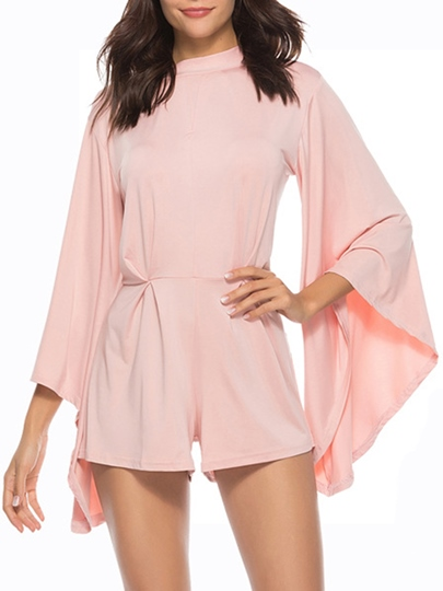 Plain Flare Sleeve Tie Back Hollow Women's Romper