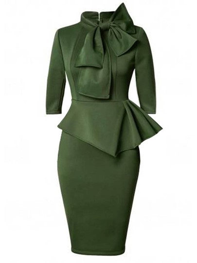 Bow Collar Half Sleeve Falbala Waist Bodycon Dress