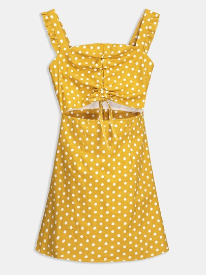 Square Neck Sleeveless Dots Sheath Dress