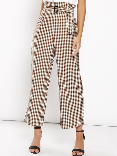 Gingham Print Lace-Up Women's Casual Pants