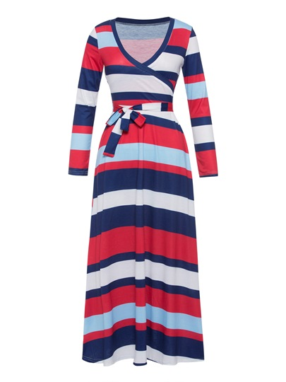 V-Neck Stripe Long Sleeve Maxi Dress