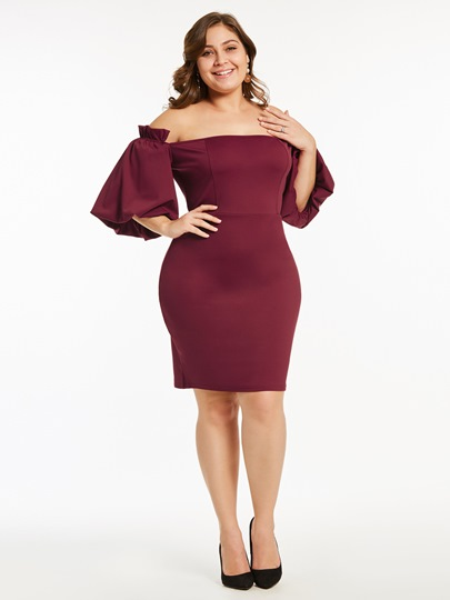 Plus Size Lantern Sleeve Slash Neck Plain Bodycon Dress