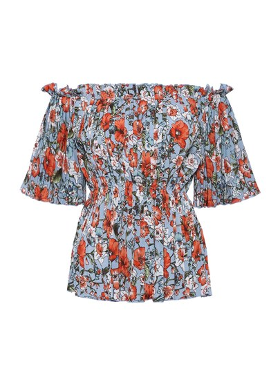 Slash Neck Print Floral Women's Blouse