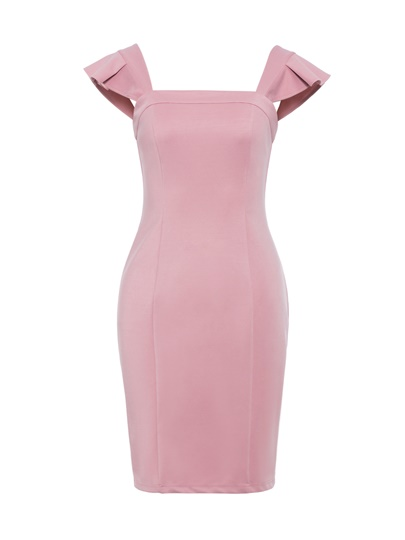 Plain Slash Neck Bodycon Elegant Dress