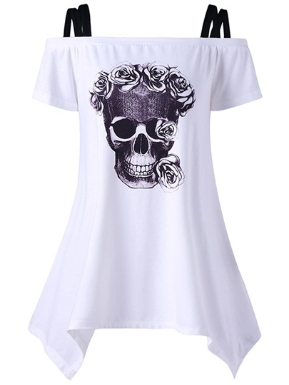 Off Shoulder Skull Print Women's T-Shirt