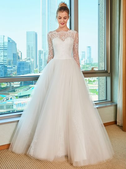 Lace Top Long Sleeve Wedding Dress Lace Top Long Sleeve Wedding Dress