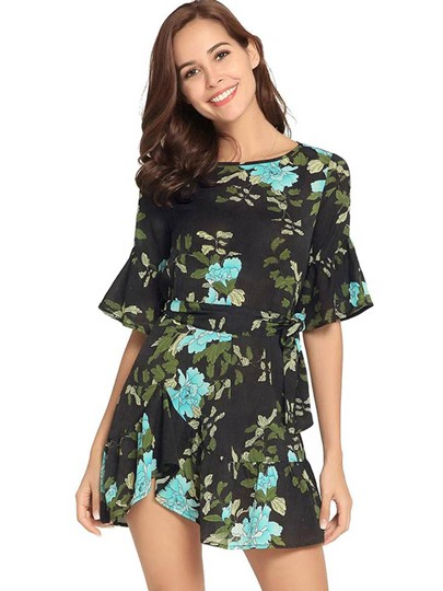 Summer Floral Prints Belt Waist Day Dress