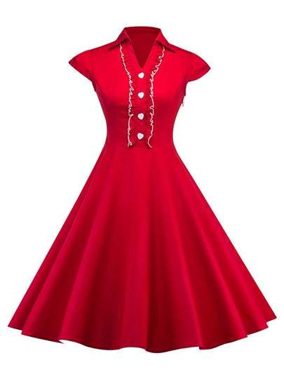 Red Cap Sleeve Lapel Women's Day Dress
