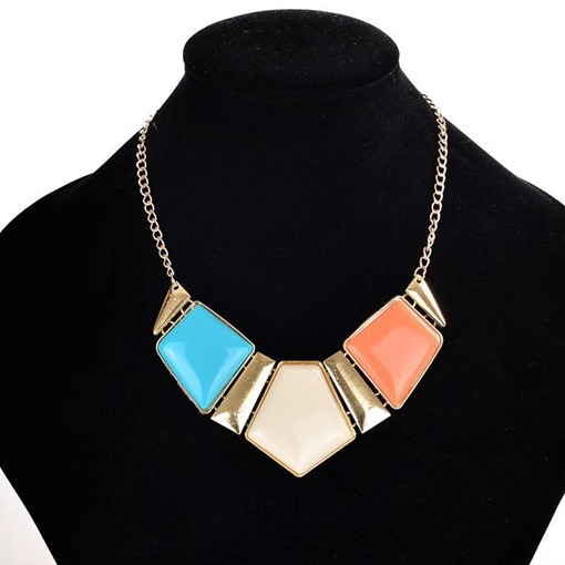 Sweet Jelly Color Geometric Necklace