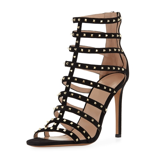 Zipper Stripe Rivet Heel Covering Sandals for Women