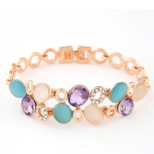 Candy Color Cat's Eye Stone Bracelet