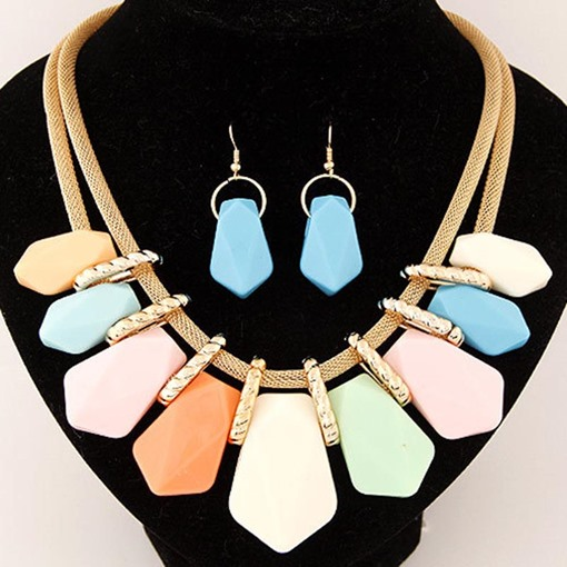 Jelly Color Block Bohemian Jewelry Sets