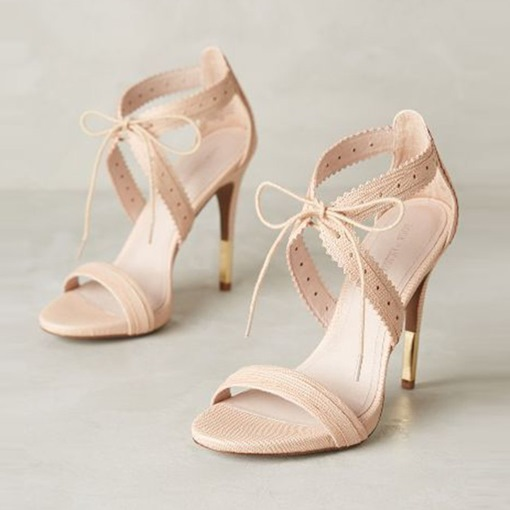 Plain Ladylike Open Toe Lace-Up Stiletto Heel Sandals
