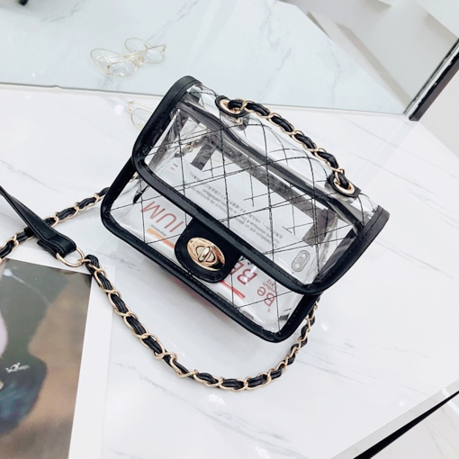 Summer Knitted Plaid Women Clear Crossbody Bag
