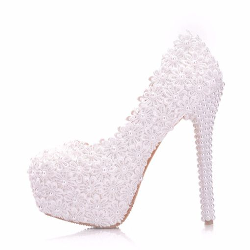 Beads Round Toe Slip-On Stiletto Heel Platform Wedding Shoes