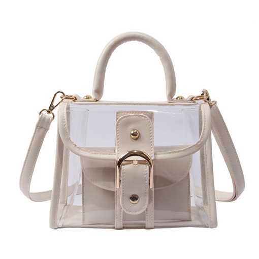 Summer Modern Style Belt Decorated PVC Clear Tote Bag