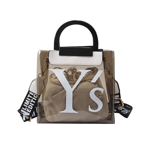 Modern Style Letter ABS Plastic Clear Tote Bag