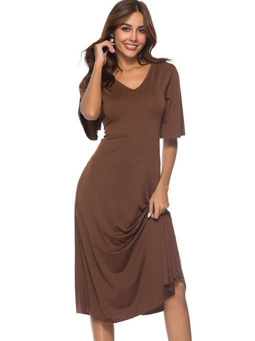 Plain Half Sleeve Women's Day Dress