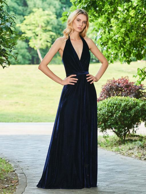 A-Line Halter Empire Backless Evening Dress
