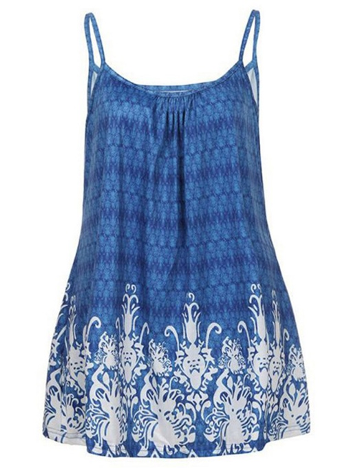 Floral Print Straps Pleated Women's Tank Top