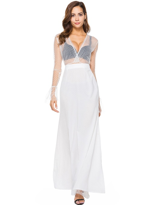 Mesh Top and Skirt Women's Two Piece Dress