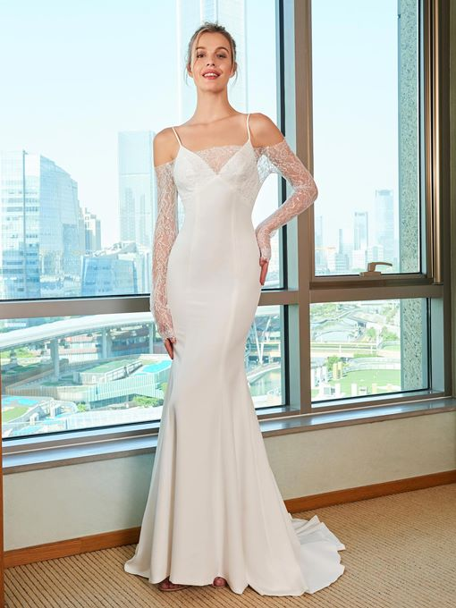 Spaghetti Straps Mermaid Wedding Dress with Lace Long Sleeve