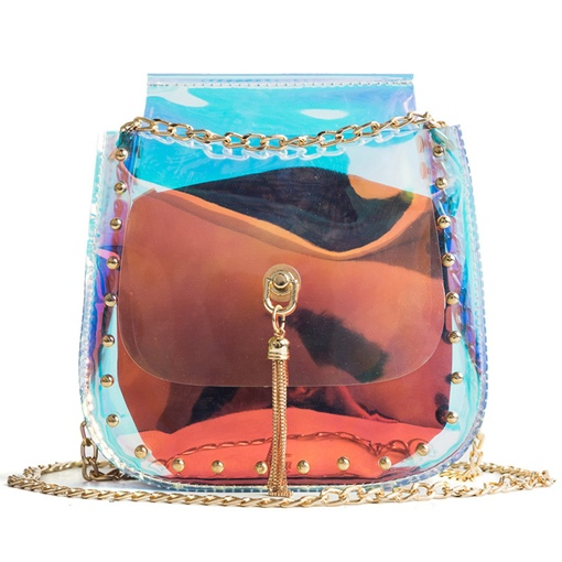 Rivets Adornment PVC Chain Clear Jelly Bag